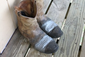 Duct tape on boots