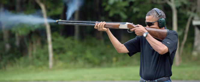 Obama shooting skeets
