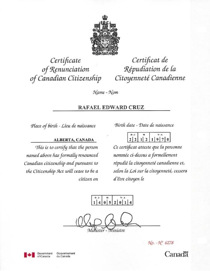 Cruz Canadian citizenship renunciation document