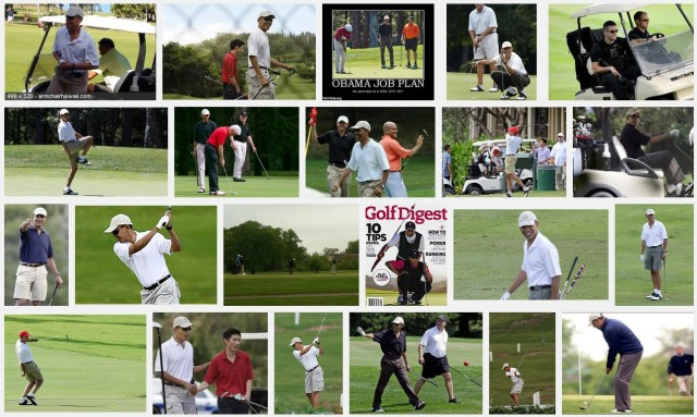 Obama and golf montage