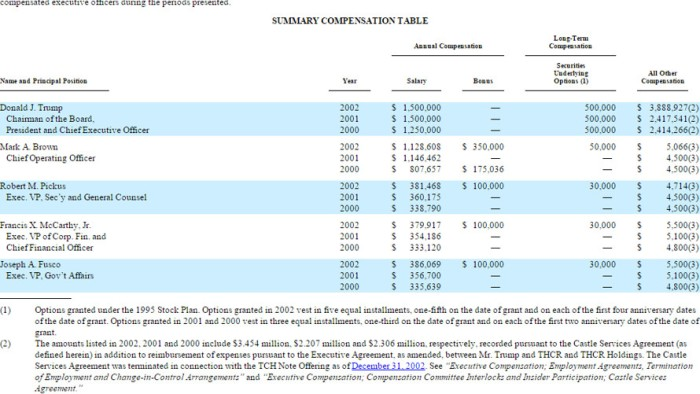 Summary compensation report from Trump Hotels and Resorts