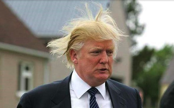 Donald Trump w-blowing hair