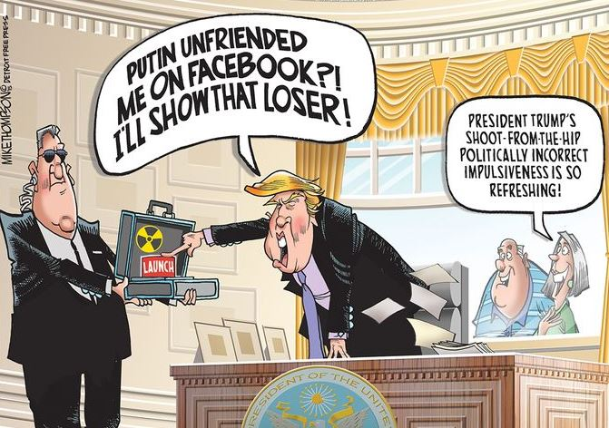 cartoon of pres trump about to launch
