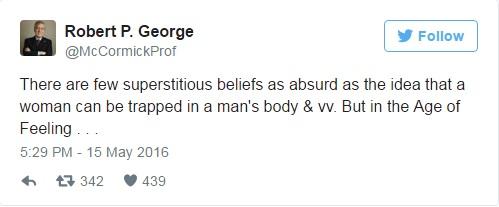 Robt P George tweet 1