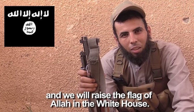 ISIS-In-America-Islamic-Terrorists-Take-Black-Flag-Photo-At-White-House-Threaten-To-Bomb-Obama-665x385