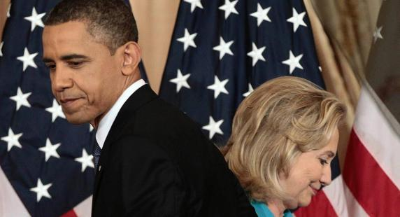 President Barack Obama passes Secretary of State Hillary Clinton before delivering a policy address on events in the Middle East at the State Department in Washington, Thursday, May 19, 2011. (AP Photo/Pablo Martinez Monsivais)
